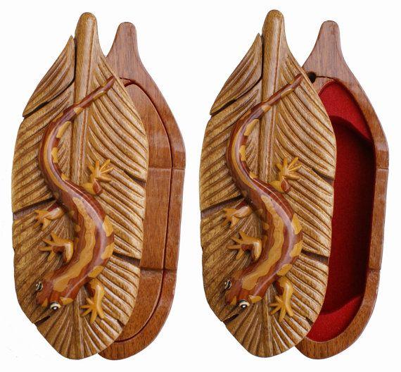 Salamander Wooden Puzze Box Jewelry Box by maderabonita on Etsy