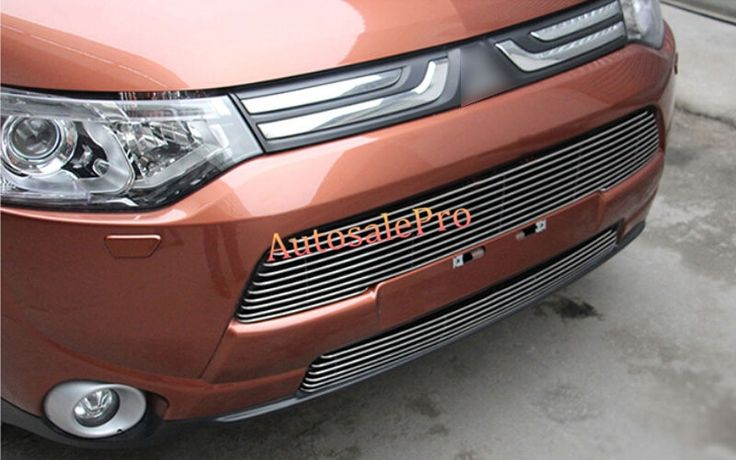 52.00$  Watch here - http://aiszk.worlditems.win/all/product.php?id=32759044000 - 2PCS Steel Front Center Grill Grid Grille Mesh Cover Trim For Mitsubishi Outlander 2013 2014