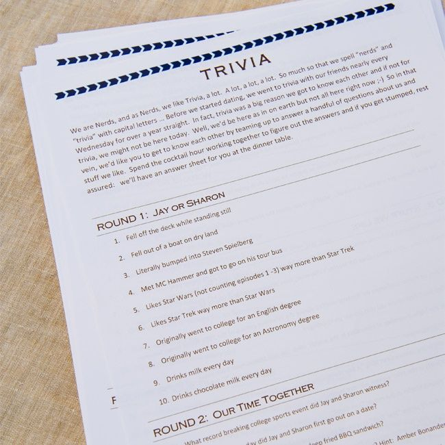 Tail Hour Wedding Trivia Sheets Fun For Guests