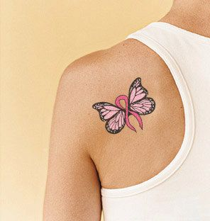 Tattoo Design -  Cancer Butterfly.  I like the wing shape, but different color, and slightly different shape on the ribbon.