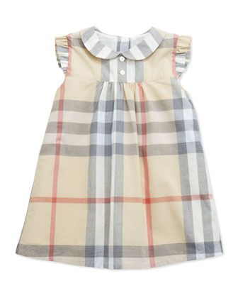 Ruffle-Shoulder Check Dress, Paltrench, 3-24 Months  by Burberry at Neiman Marcus.