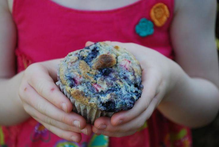 Blueberry Rhubarb Muffins a.k.a. Summer Muffins http://ottawamommyclub.ca/blueberry-rhubarb-muffins-a-k-a-summer-muffins/