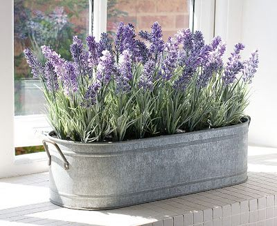 Lavender centerpiece in galvanized tub Love the simplicity, plus useable afterwards!