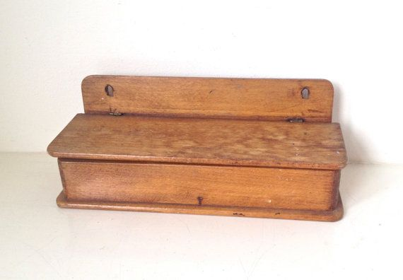 Vintage Wood Pen Holder Large Pencil Case Box by VerifiedVintageNL