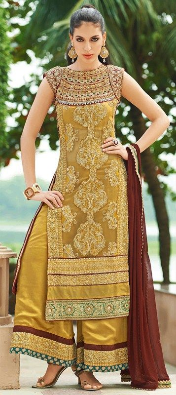 402824, Party Wear Salwar Kameez, Georgette, Silk, Viscose, Stone, Zircon, Zardozi, Machine Embroidery, Gold Color Family