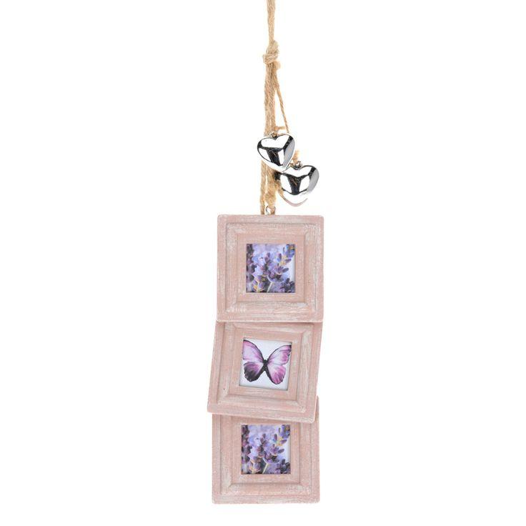 Set van 3 houten fotolijstjes aan een touw. Inclusief 2 zilveren hartjes ter decoratie. Afmeting: lijstje 8 x 8 cm. - Fotolijstjes Vierkant Hout - Roze