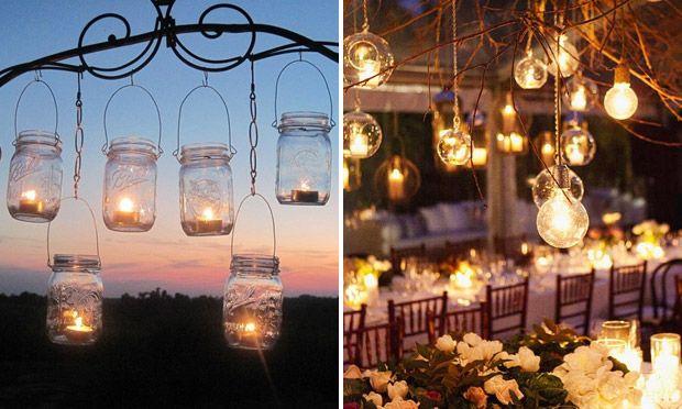 decoracao em lampadas:Festa de casamento pequena: ideias fáceis de decoração para você