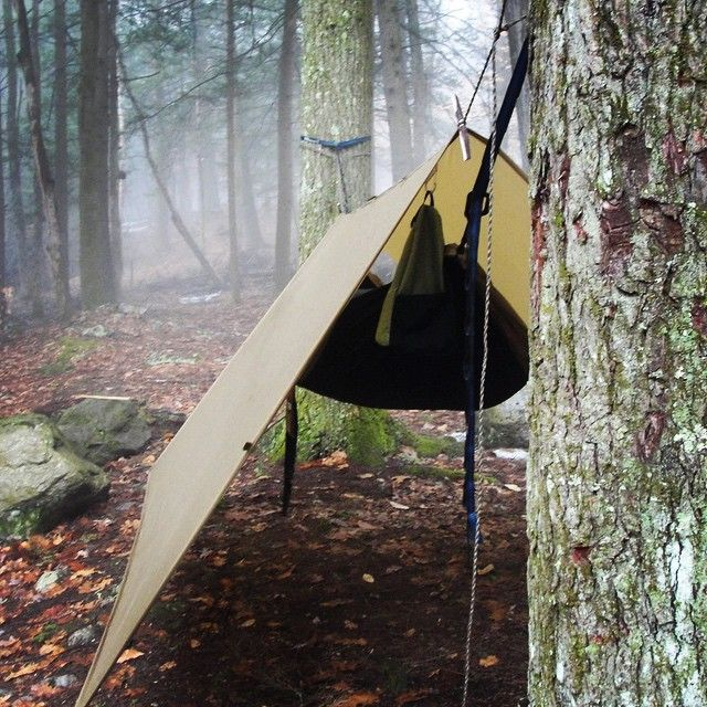 NVRDONE rockin' the Bushcraft USA 10x10 coyote tarp with a hammock #bushcraft… …