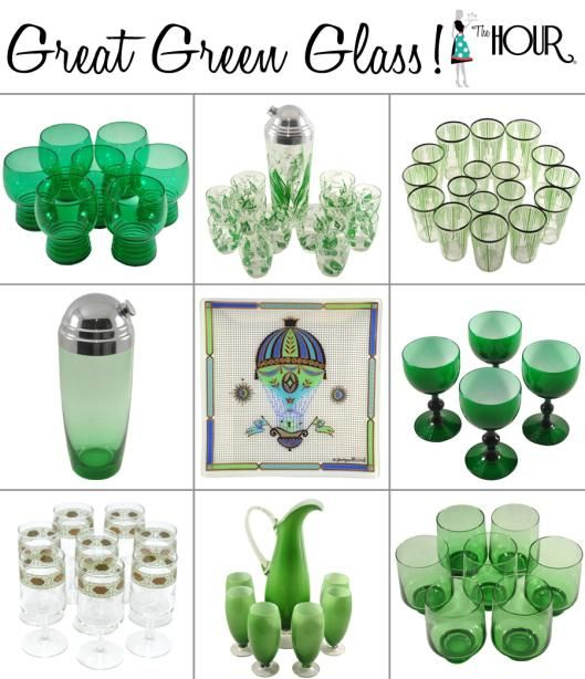 Think Spring, Think Green!! We love entertaining with seasonal glassware - check out our blog on all things Green Glass for St. Patrick's Day & beyond! TheHourShop.com ~ curated cocktail glassware & barware for the modern home bar.