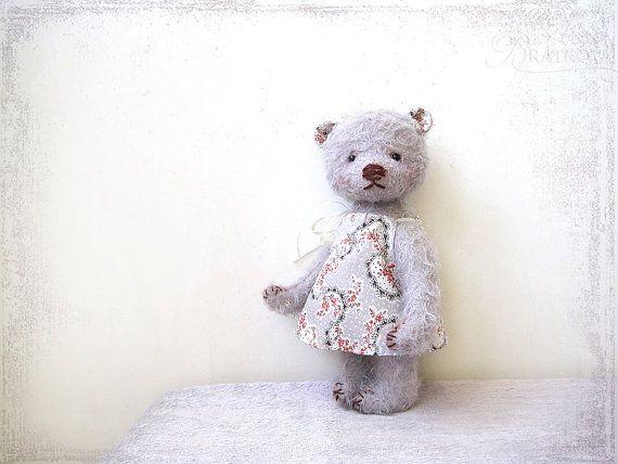 Artist Teddy Bear girl Mary OOAK lilac gentle by zverrriki on Etsy, £60.00