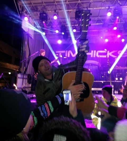 On a cold, crisp, clear night, a Canadian New Years Eve was celebrated on the Sparks Street Mall in Ottawa with Tim Hicks and Autumns Cannon