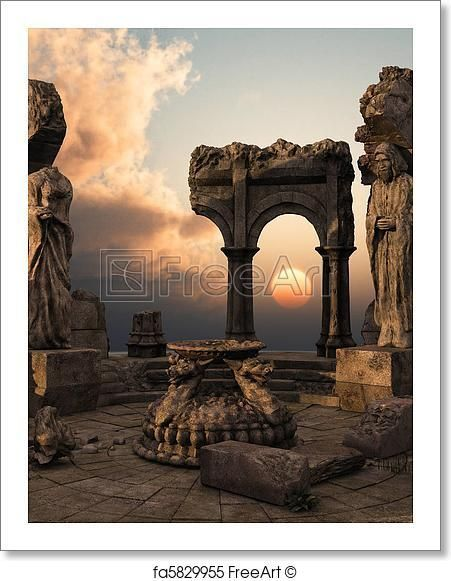 Mysterious Temples In World: Free Art Print Of Fantasy Temple Ruins In 2019