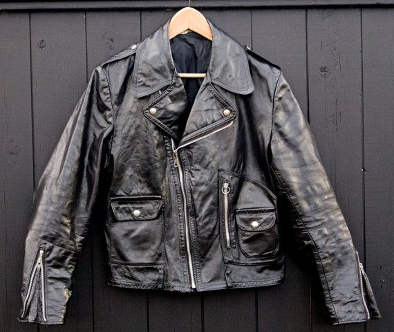 1960's Vintage Leather Motorcycle Jacket by PeachCityVintage on Etsy