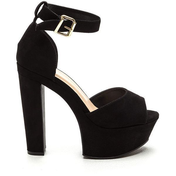 ef99ae8f6d7 Fine Vintage Chunky Platform Heels BLACK ( 29) ❤ liked on Polyvore  featuring shoes