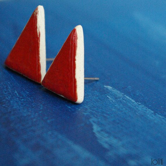 FREE SHIPPING triangle ceramic earings geometric stud by loliti
