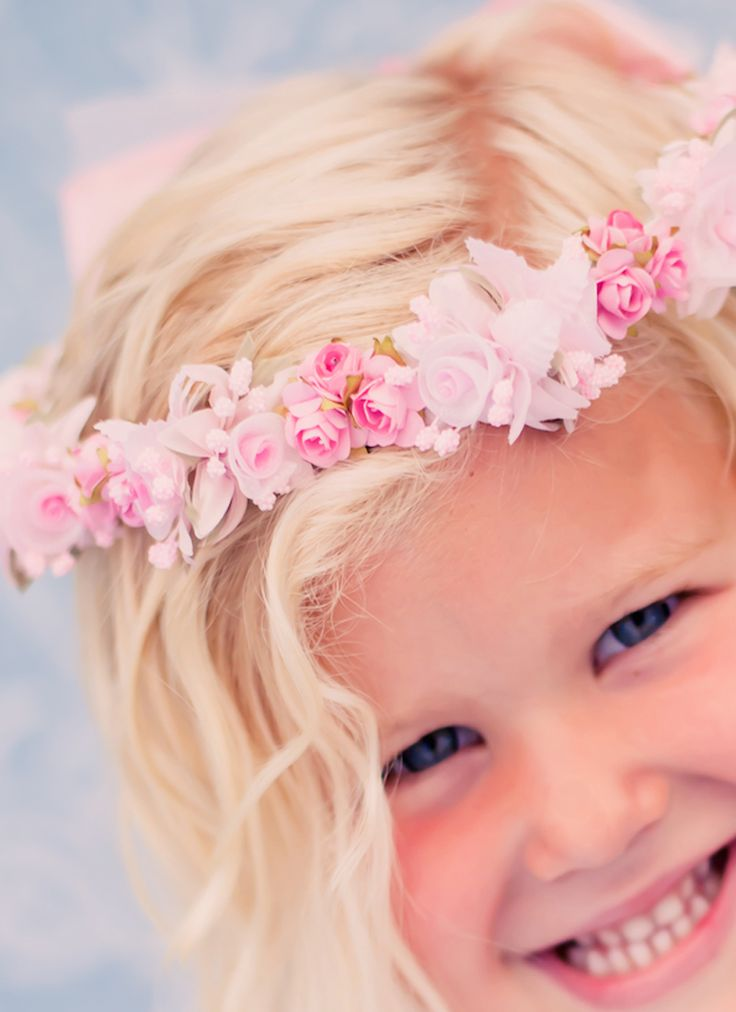 Pink Floral Crown Wreath Handmade with Silk Flowers & Back Satin Bows (Girls)
