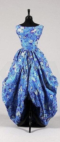 ~Dior `Sultane' Dress - FW 1958 - House of Dior - Design by Yves Saint Laurent -  Blue floral chiné taffeta~
