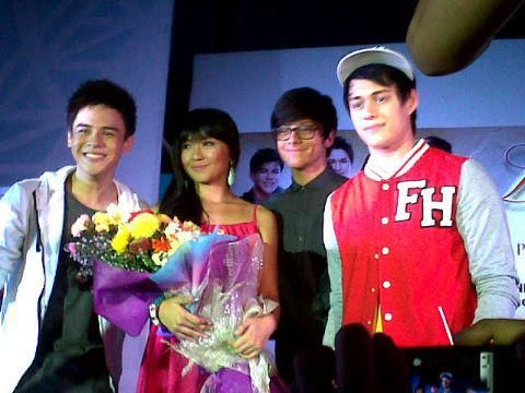 This is the Khalil Ramos, Kathryn Bernardo, Daniel Padilla, and Enrique Gil smiling for the camera after the Grand Album Launch of the album, Love Songs from Princess and I last June 28, 2012 at the SM City North EDSA Skydome. #KhalilRamos #KathrynBernardo #DanielPadilla #EnriqueGil #KathNiel #KathNielBernaDilla #PrincessandI #LoveSongsfromPrincessandI