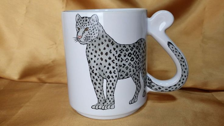 Black and Gray Cheetah Mug / Cup by ACTION Made in Japan w/ CURLED TAIL HANDLE
