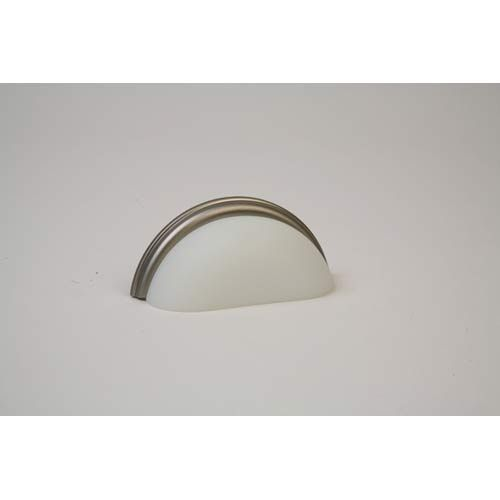 Brushed Nickel 3.75 Inch Frosted White Pull Lew's Hardware Pulls Bin Cabinet Hardware &