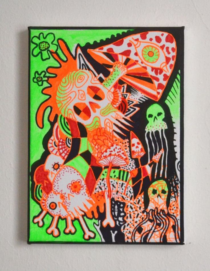 Original Abstract Bright Gothic Psychedelic Oil Painting,Multicoloured Art Gift #Abstract