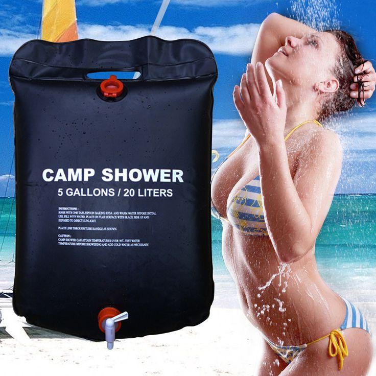 Yeni 20L/5 Galon Güneş Enerjisi Isıtmalı Kampı Duş Çanta açık Kamp Yürüyüş Programı Su Depolama PVC Siyah Duş Su Çantası