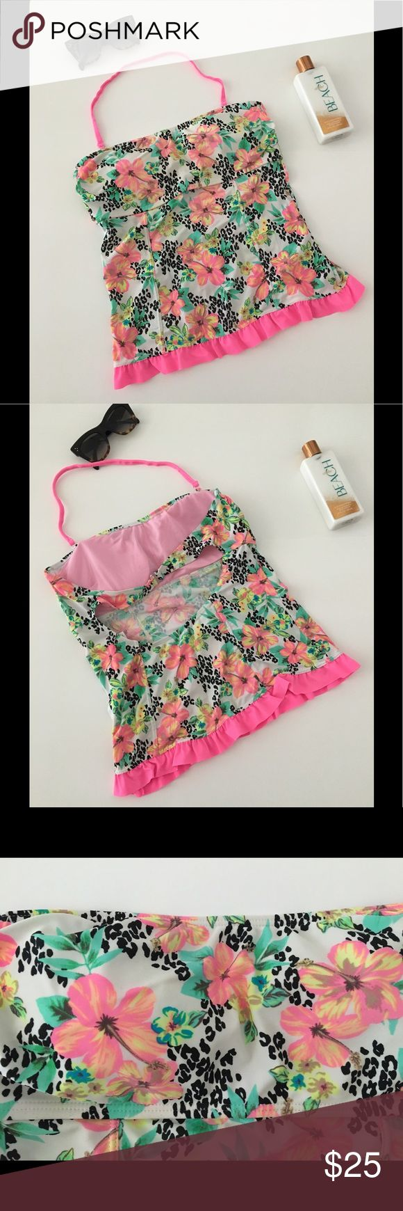 Hula Honey hot pink tankini top Tropical flower and animal print tankini with frills. Lightly padded, pads are removable. Halter strap is removable. Great condition. Hula Honey Swim