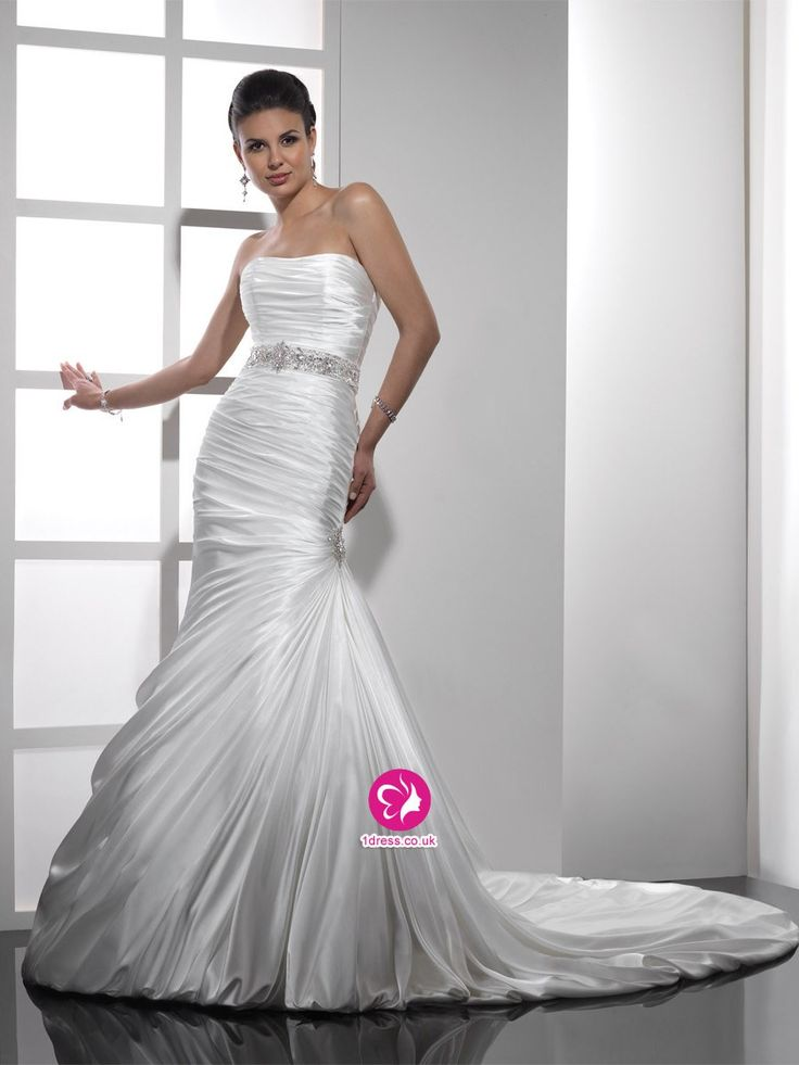 Trumpet/Mermaid Strapless Beading Court Trains Satin Wedding Dresses (UK0257944)