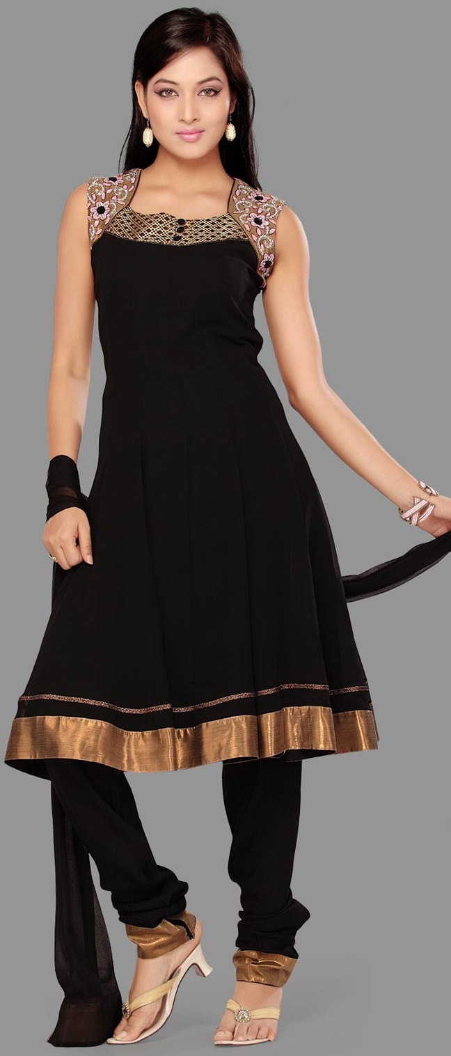 #Black Readymade #Georgette Churidar Kameez @  $74.95