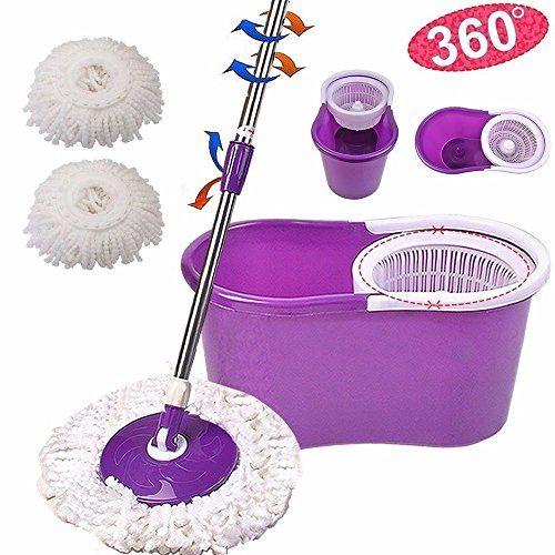 Parit Magic Microfiber Mop  Bucket 2 Heads 360 Rotating Head Mob Easy Spinning New Cleaner * You can find more details by visiting the image link.
