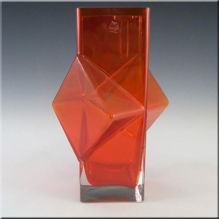 Riihimaki/Erkkitapio Siiroinen Red Glass Pablo Vase #1388 - £100.00
