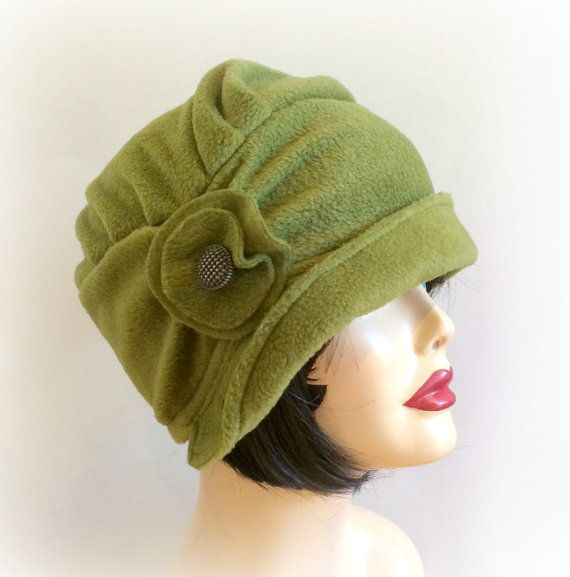Winter Cloche Cap, Cloche Hat, Flapper Style Hat, Fleece Cloche, Trendy Hat, Olive Green Fleece, Small Brim Hat, Handmade in the USA