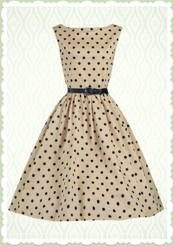 Lindy Bop 50er Jahre Rockabilly Petticoat Punkte Kleid - Audrey - Beige