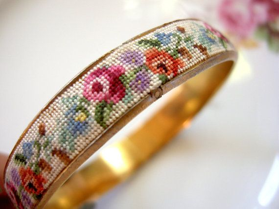 Vintage Needlepoint Bangle Bracelet by modernlovevintage on Etsy