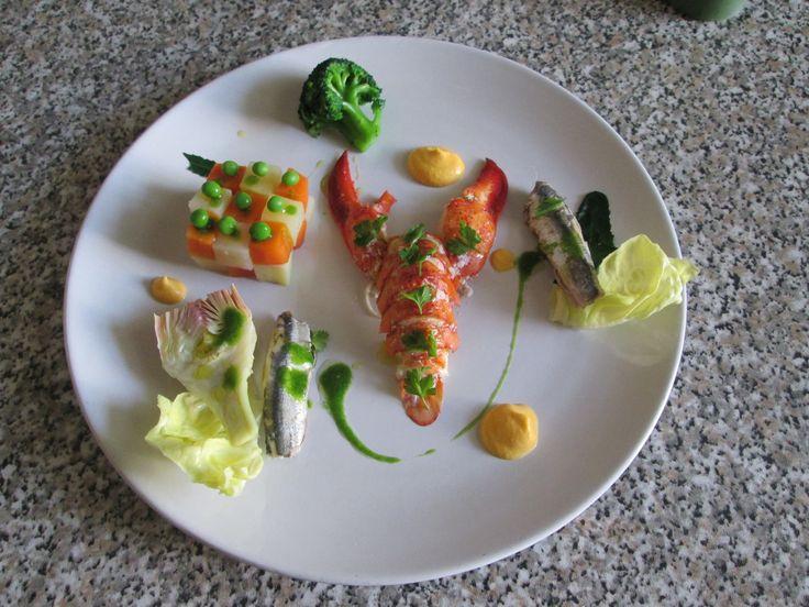 Insalata  di astice   verdure e  alici  mayonese di carota        Gino D'Aquino