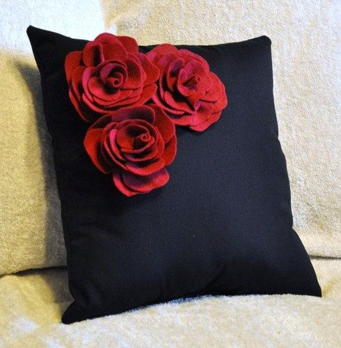Black Pillow with Ruby Red Trio Rose Throw Pillow by bedbuggs, $35.00