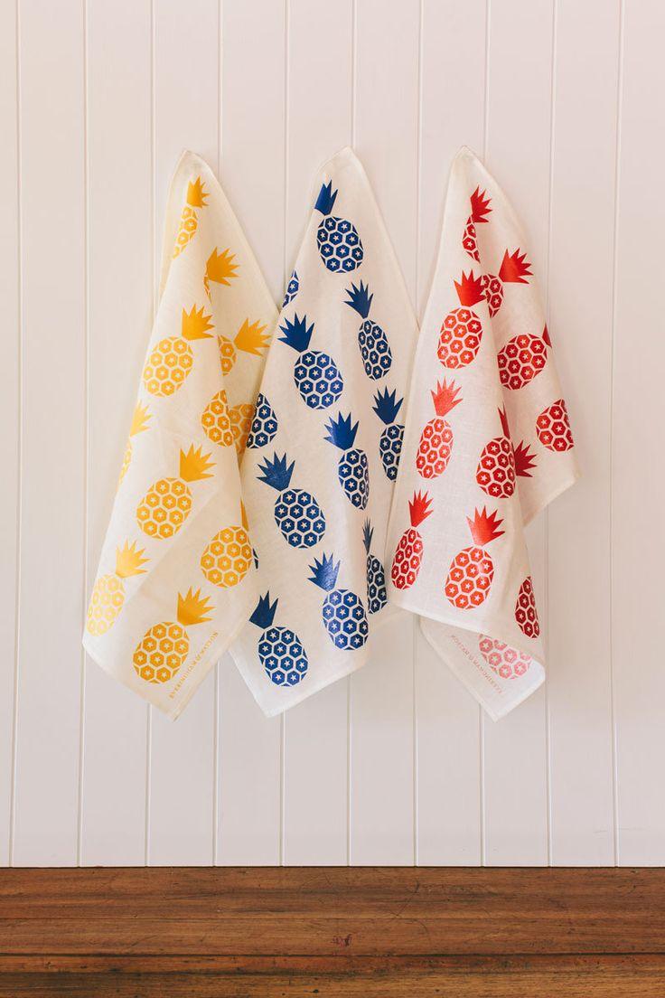 Blue and white kitchen towels - E Pineapple Print Tea Towel Royal Blue On White