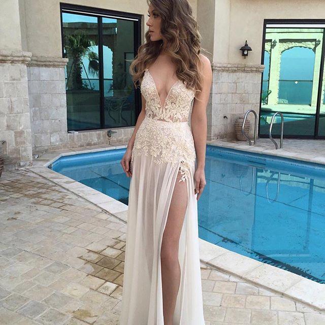 Bg66 Deep V Neck Prom Dress,White Wedding Dress,Long Prom Dress,Slit Split Prom Dress,Sexy Prom Gown,Appliques Prom Dress,Beautiful Party Dress,Prom Dress 2016