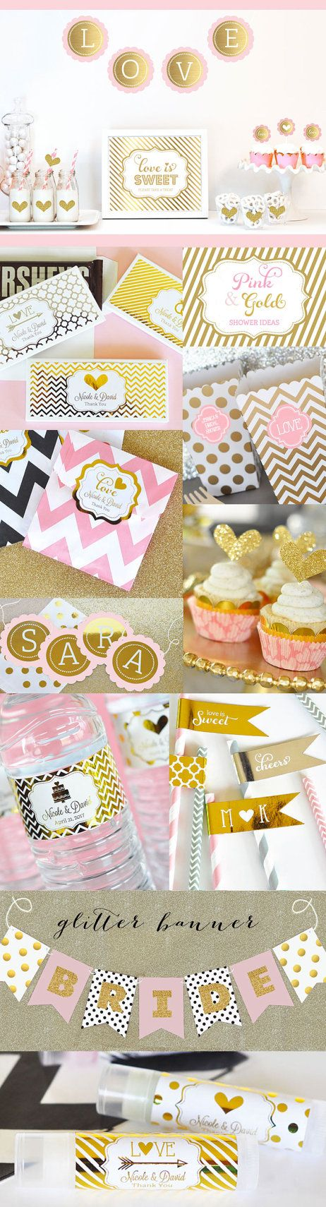 Pink and Gold Wedding Favor Bags Pink and Gold Bridal by ModParty