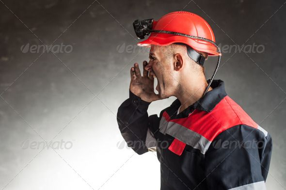Angry coal miner shouting ...  anger, away, background, business, caucasian, coal, concepts, conflict, control, danger, dark, digger, dirty, emotional, energy, engineer, excitement, expression, furious, hardhat, helmet, industry, iron, job, leadership, looking, male, man, manager, manual, message, miner, mining, motivation, mouth, oil, one, ore, power, professional, protective, safety, screaming, shouting, speaker, unkind, wall, warn, worker, workwear