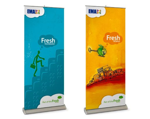 Branding for EMA's Fresh Network applied to pull up banners.