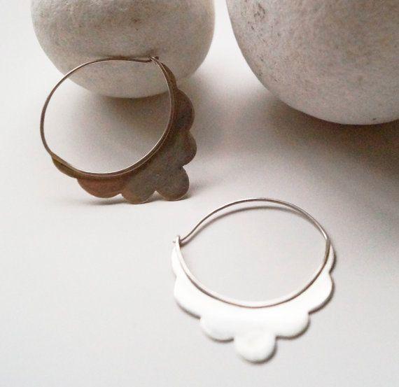Flower Earrings  Hoop Earrings  Boho Style by YolandaTzina on Etsy