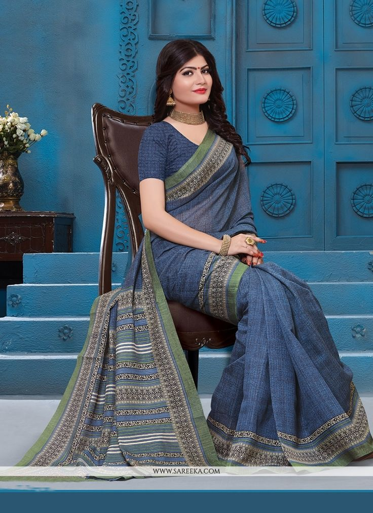 Be your exceptional fashion diva with this grey silk casual saree. This lovely dress is showing some incredible embroidery done with patch border work. Comes with matching blouse. (Slight variation in...