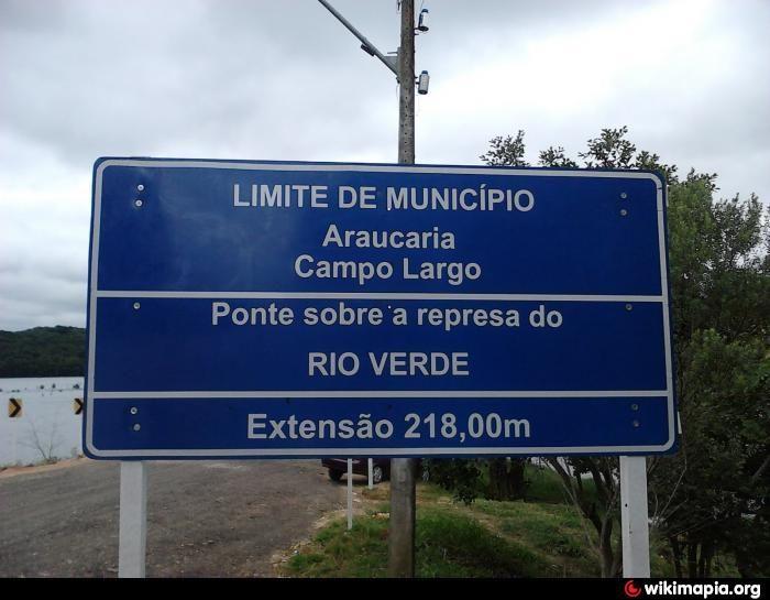Limite de Município. Araucária e Campo Largo. Ponte sobre a represa do Rio Verde. Extensão 218,00m
