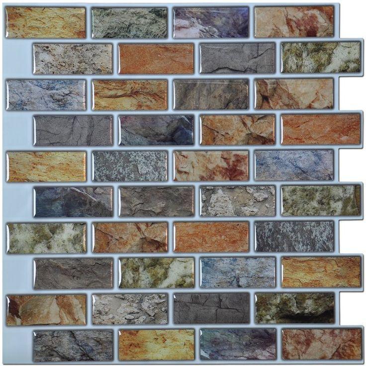 12 X 12 Pvc Peel Stick Mosaic Tile In Brown Gray Brown