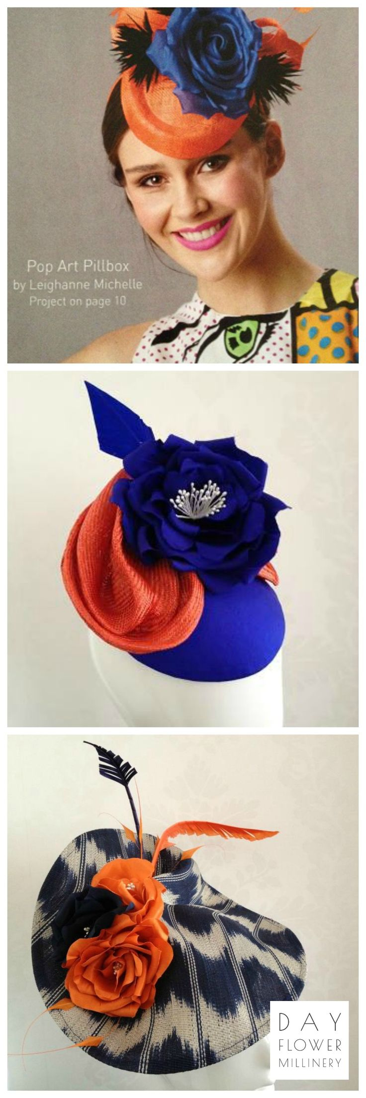 A collection of orange and blue....handcrafted millinery and headwear.