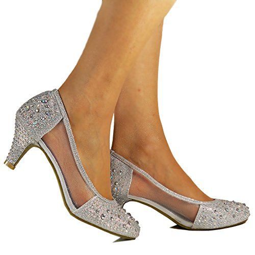Rock on Styles New Silver Diamante Net See Thru Mid Low Kitten Heel Party  Evening Bridal