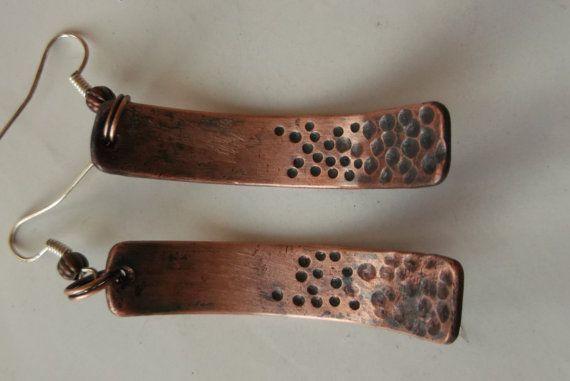 Copper Earrings Copper Dome Hammered Earrings by fripperyart