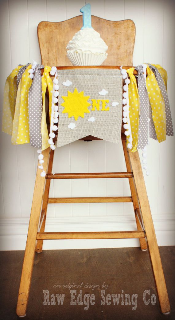 You Are My Sunshine Birthday Highchair High by RawEdgeSewingCo