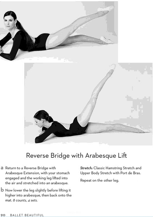 Reverse bridge with arabesque extension exercises. Ballet Beautifil with Mary Helen Bowers.